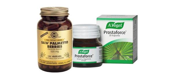 Sahapalmu-tuotteita: Prostaforce ja sahapalmun siemenet.